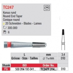 Edenta TC FG 7802 12 Bladed Finishing Bur Bullet 7802 500-314-195-071-010